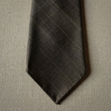 Brown Textured Wool Tie with Stripes