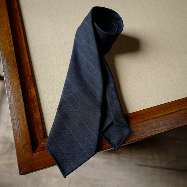 Multi-stripes Navy Wool Tie with Green Stripes