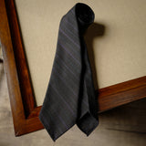 Multi-stripes Brownish Grey Wool Tie with Purple Stripes