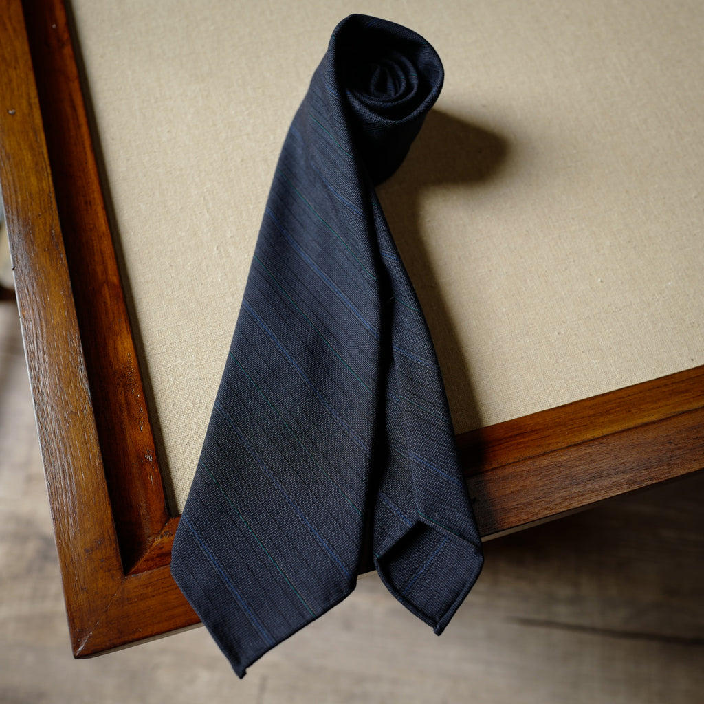 Multi-stripes Navy Wool Tie with Blue Stripes