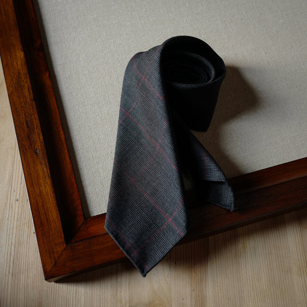 Grey Wool Tie with Red Overcheck