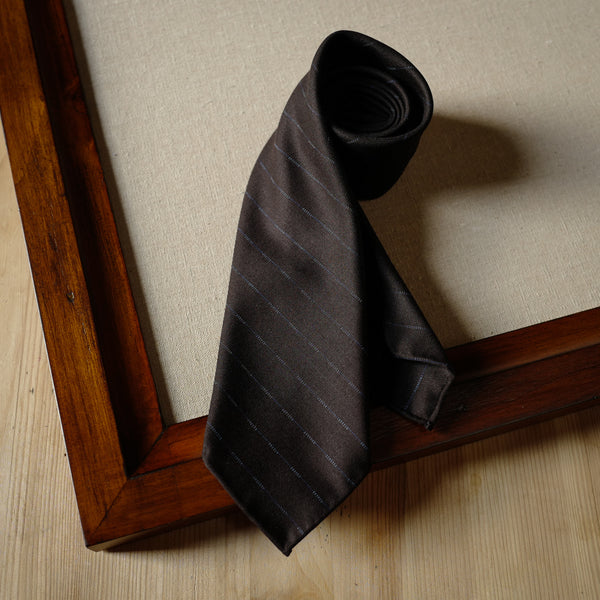 Dark Brown Wool Tie with Navy Woven Stripes