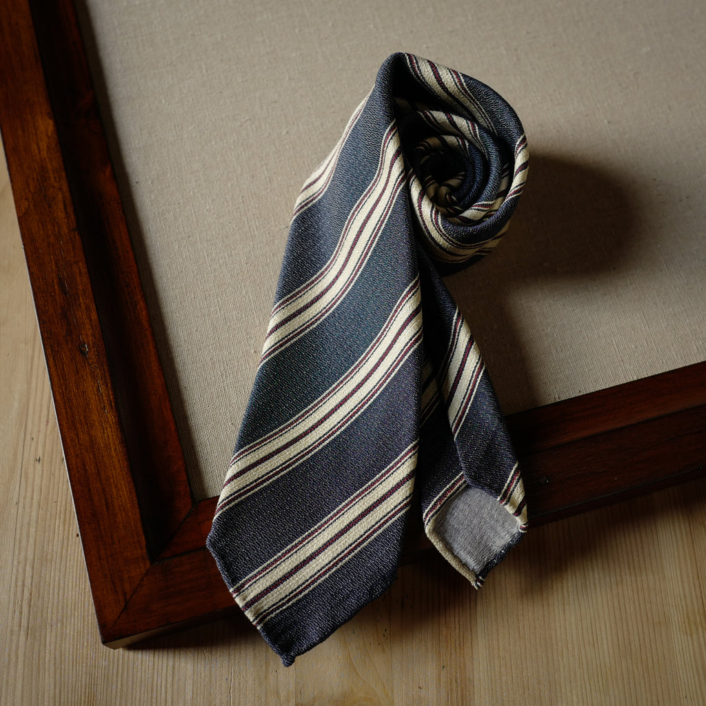 Blue Silk Tie with Cream and Red Stripes