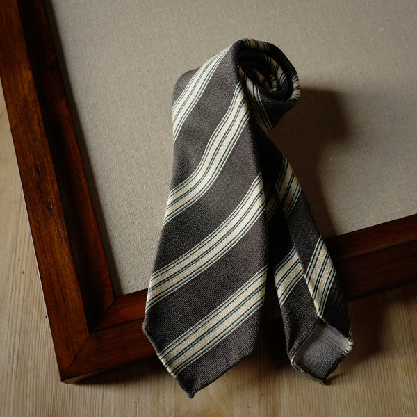 Brown Silk Tie with Cream and Cyan Stripes