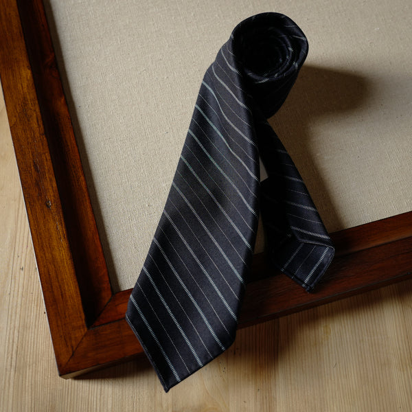 Navy Wool Tie with Patterned Stripes