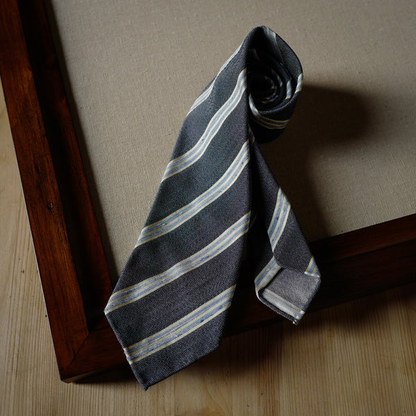Blue Stripes Silk Tie with Wave Pattern