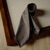 Brown Undyed Escorial Wool Tie with Herringbone Pattern
