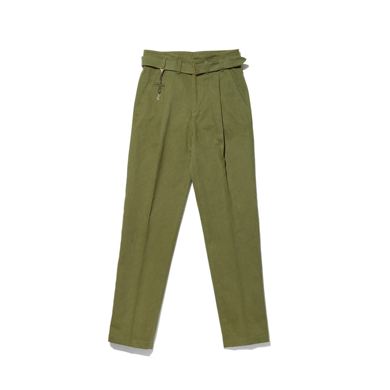Vent Trousers in Olive Green