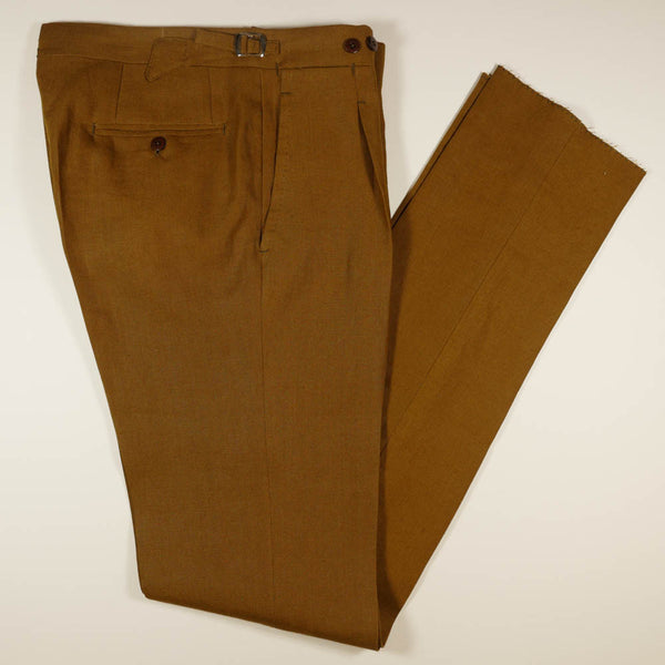 Tobacco Brown Linen Trousers