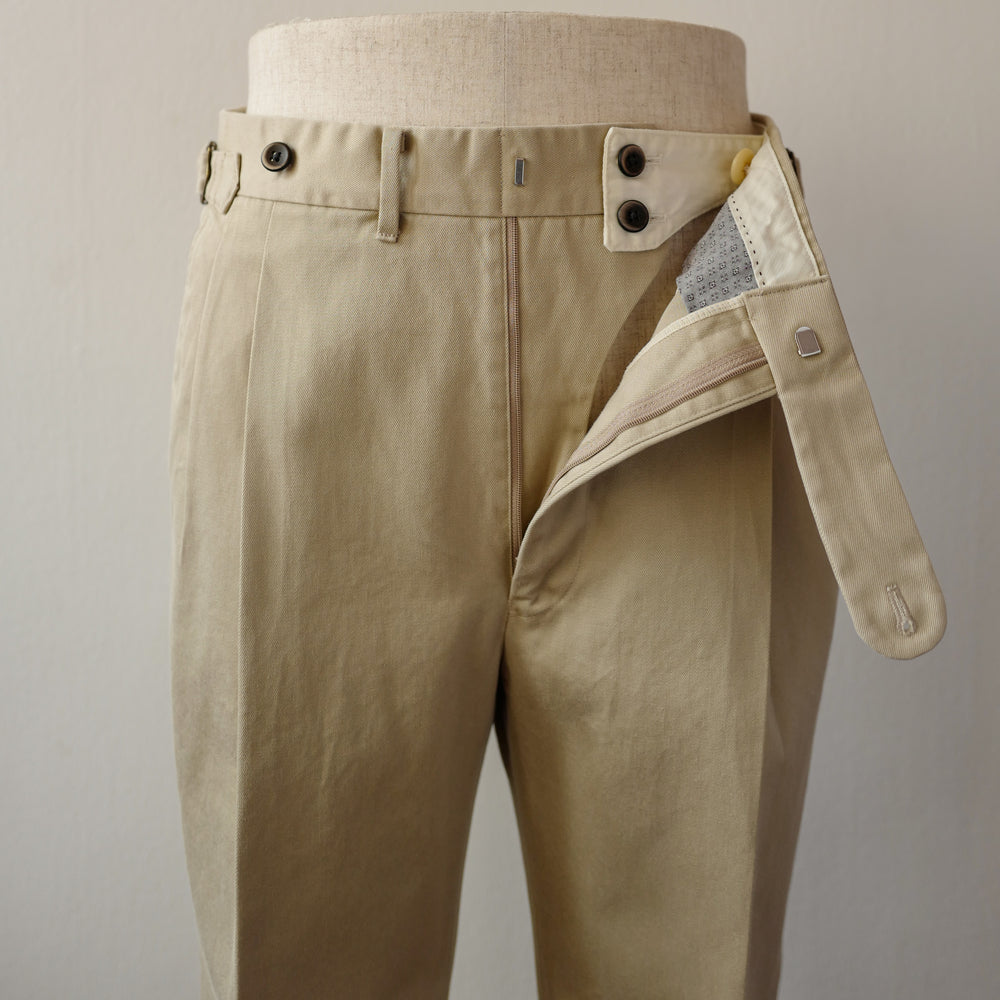 Beige Washed Cotton Trousers (New Classic)