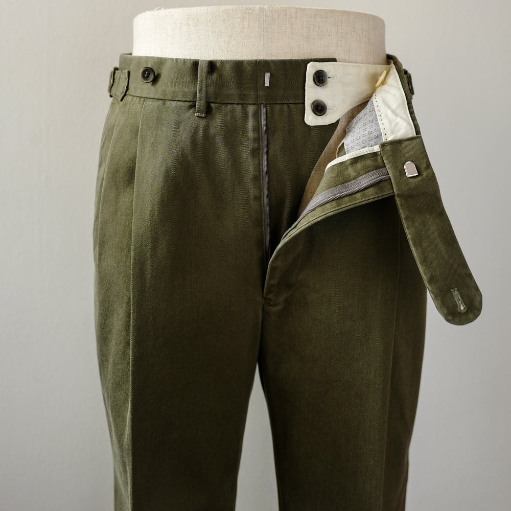 Green Washed Cotton Trousers (New Classic)