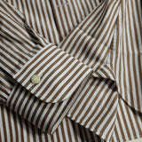 Brown Stripe Shirt with S Collar