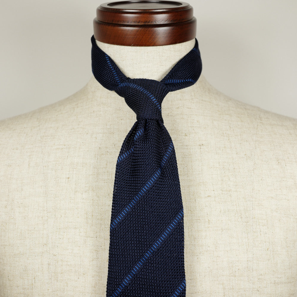 Navy Grenadine Six-Fold Tie with Blue Stripes