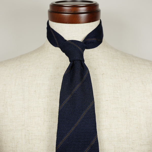 Navy Grenadine Six-Fold Tie with Brown Stripes