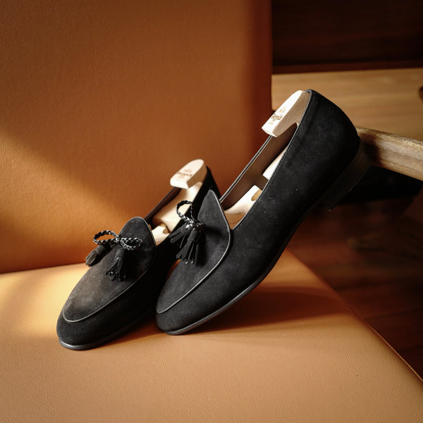 5154 Braided Tassel Loafers in Black