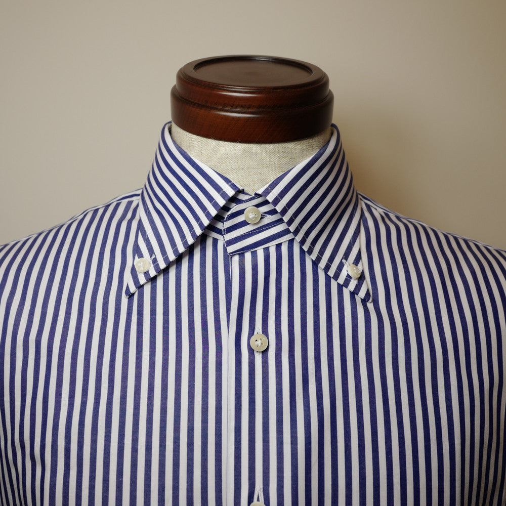Navy Stripe Shirt with Classic Button-down Collar