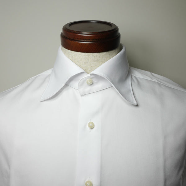 White Twill Cotton Shirt with S Collar