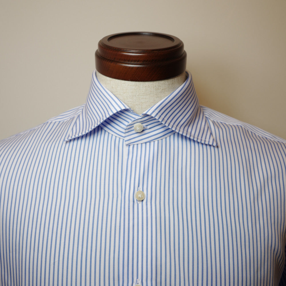 Blue Stripe Shirt with Cut-away Collar