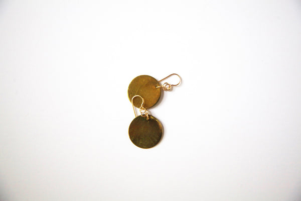 Melt Goods Darya Circle Earrings I Minimalist + Delicate Brass Jewelry Made by Refugee Women in America