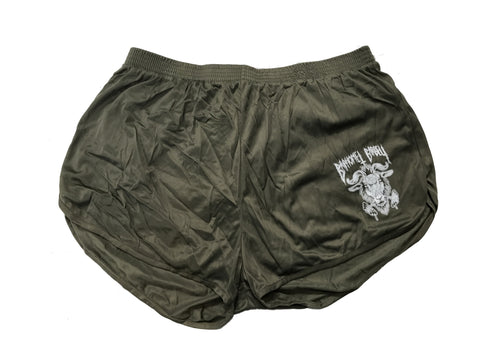 Baphomet Logo Squat Shorts - OD Green
