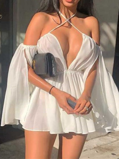 White Women Mini Dress Off Shoulder V-neck Open Back Flare Sleeve