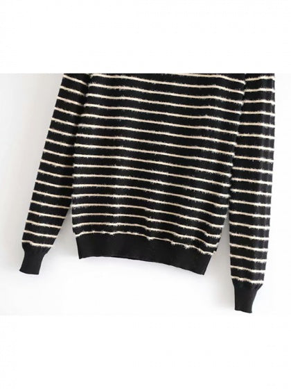 Black Stripe High Neck Long Sleeve Women Sweater