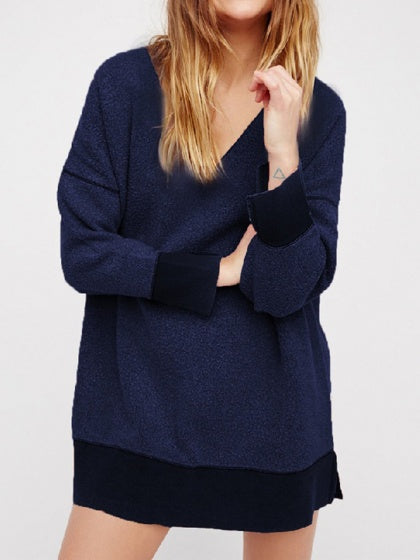 Royal Blue Women Mohair Knit Sweatshirt V-neck Long Sleeve