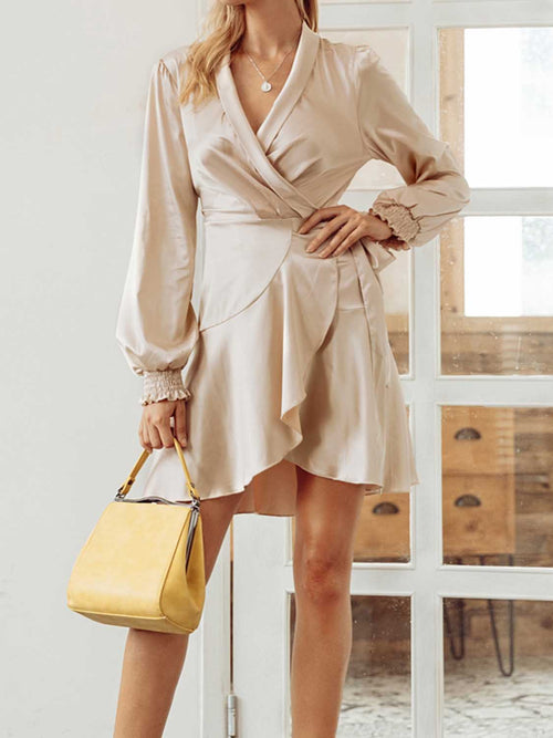 Khaki Satin Look V-neck Tie Waist Long Sleeve Chic Women Mini Dress