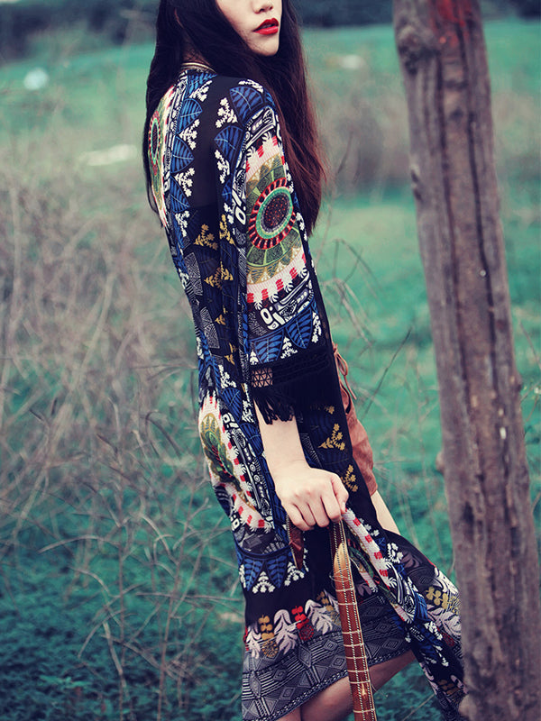 Black Folk Print Tassel Cuff Long Sleeve Longline Coverup