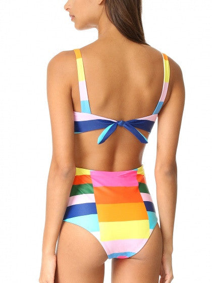 Polychrome Mulicolor Rainbow Open Back Padded One-piece Swimsuit