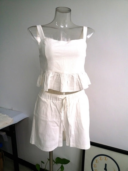 White Two Pieces Ruffle Hem Women Crop Cami Top And High Waist Shorts