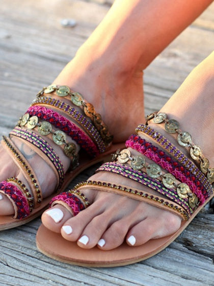 Polychrome Women Bohemian Flat Sandals Handicraft Embellished