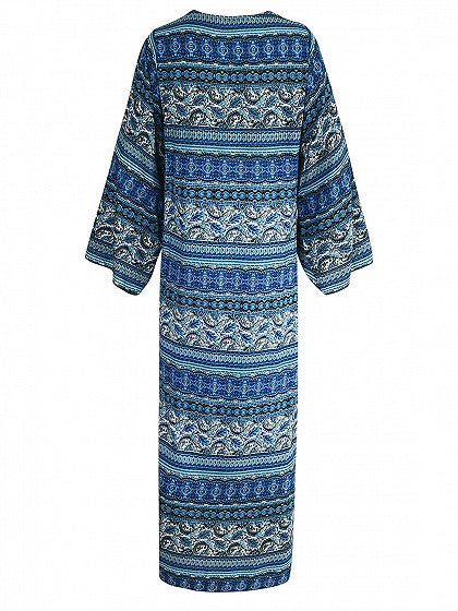 Folk Print Open Front Long Sleeve Longline Coverup