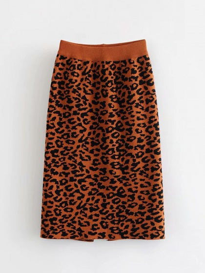 Dark Brown High Waist Leopard Print Split Back Women Knit Skirt