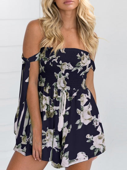 Blue Romper Playsuit Stretch Off Shoulder Floral Print