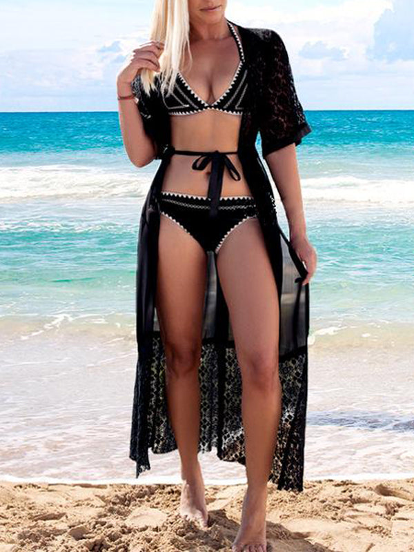 Black Lace Panel Open Front Coverup