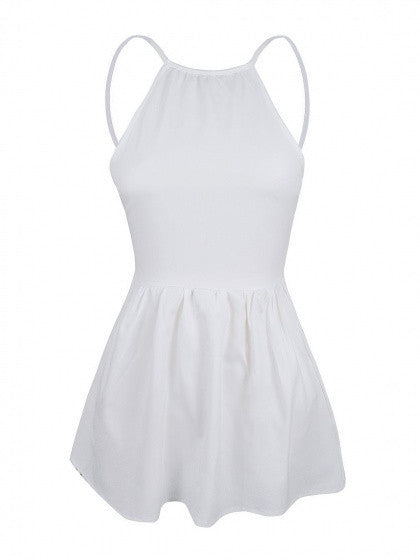 White Mini Dress Spaghetti Strap Backless Skater A Line Party