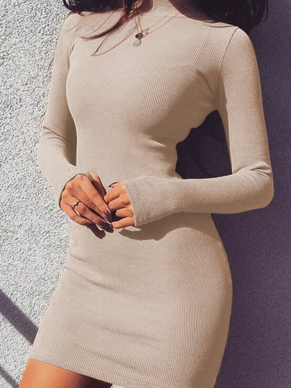 Beige Women Bodycon Mini Dress Cotton High Neck Long Sleeve
