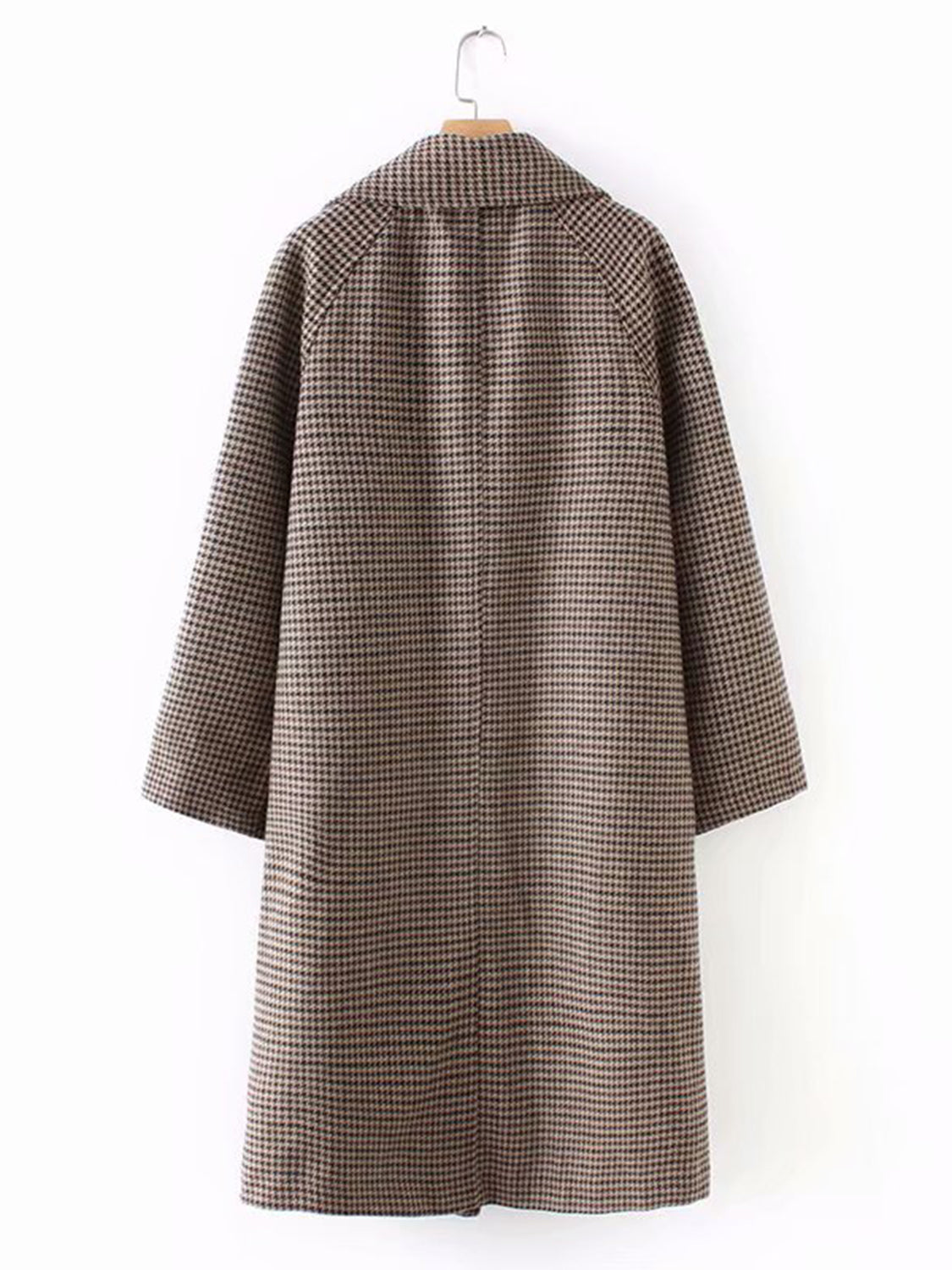 Khaki Plaid Lapel Long Sleeve Women Longline Wool Blend Coat