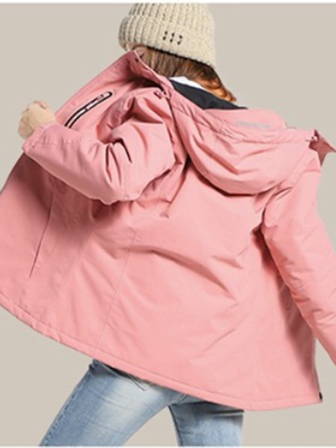 Pink Hooded Coat USB Intelligent Heating Long Sleeve