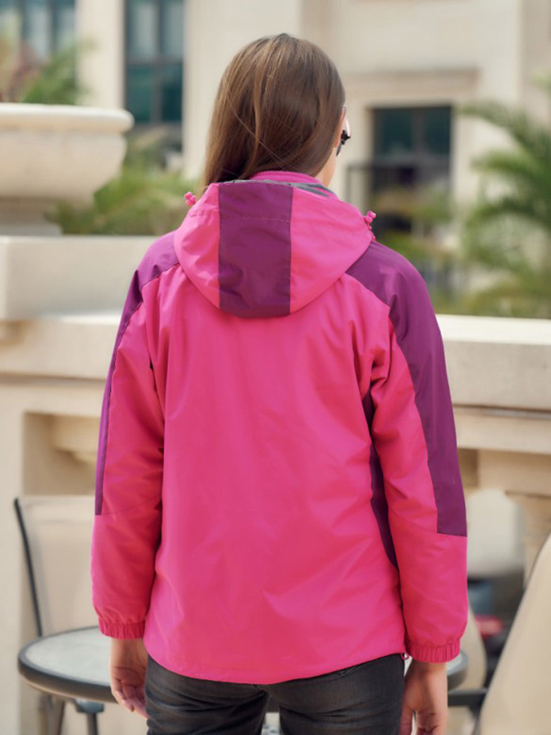 Pink Women Hooded Ski Jacket Long Sleeve