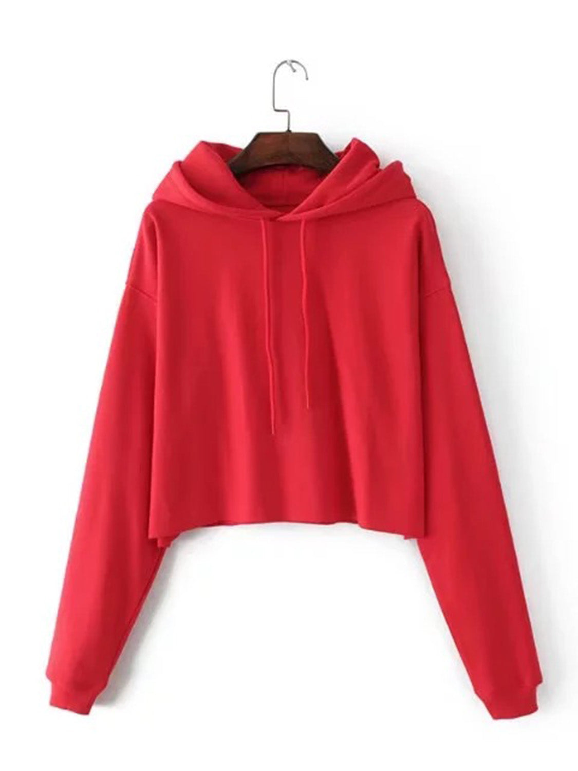 Red Women Crop Hoodie Cotton Blend Long Sleeve