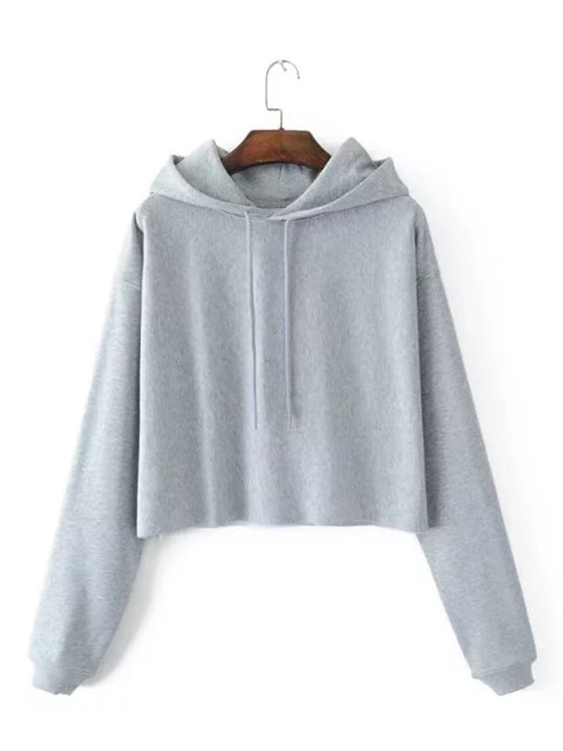 Gray Women Crop Hoodie Cotton Blend Long Sleeve