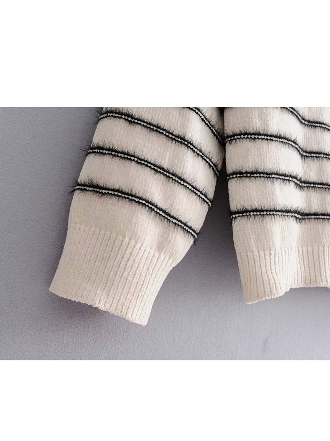 White Stripe Crew Neck Long Sleeve Women Sweater