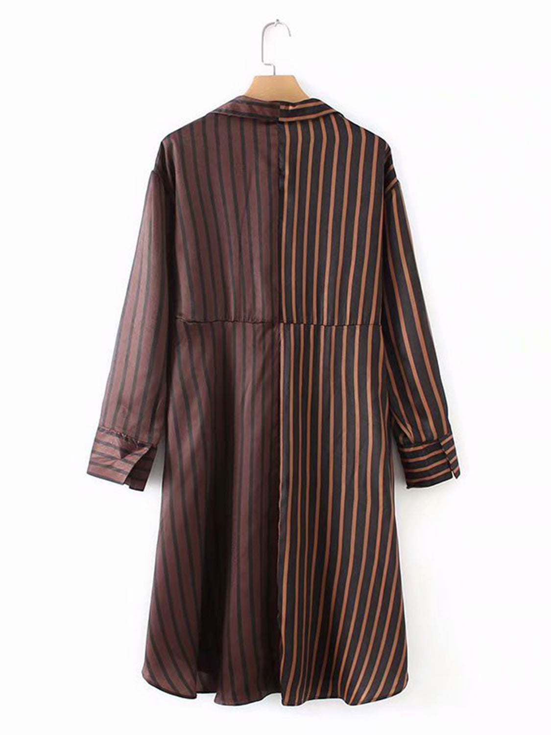 Brown Stripe Contrast Panel Long Sleeve Women Midi Dress