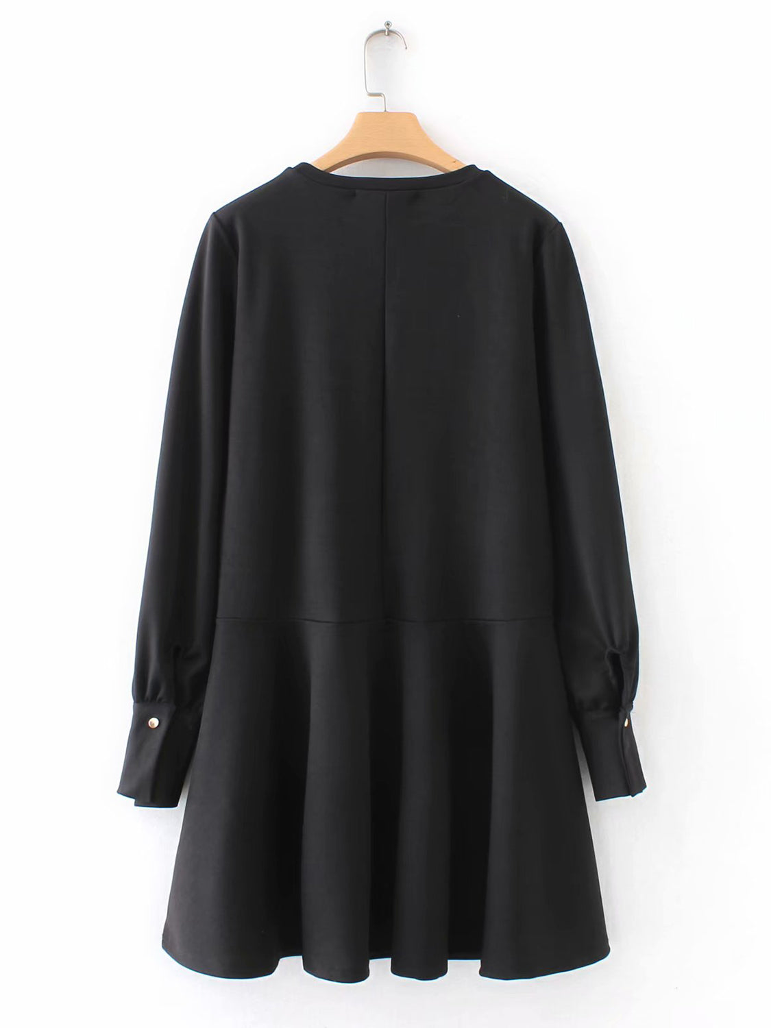 Black Women Mini Dress Crew Neck Ruffle Hem Long Sleeve