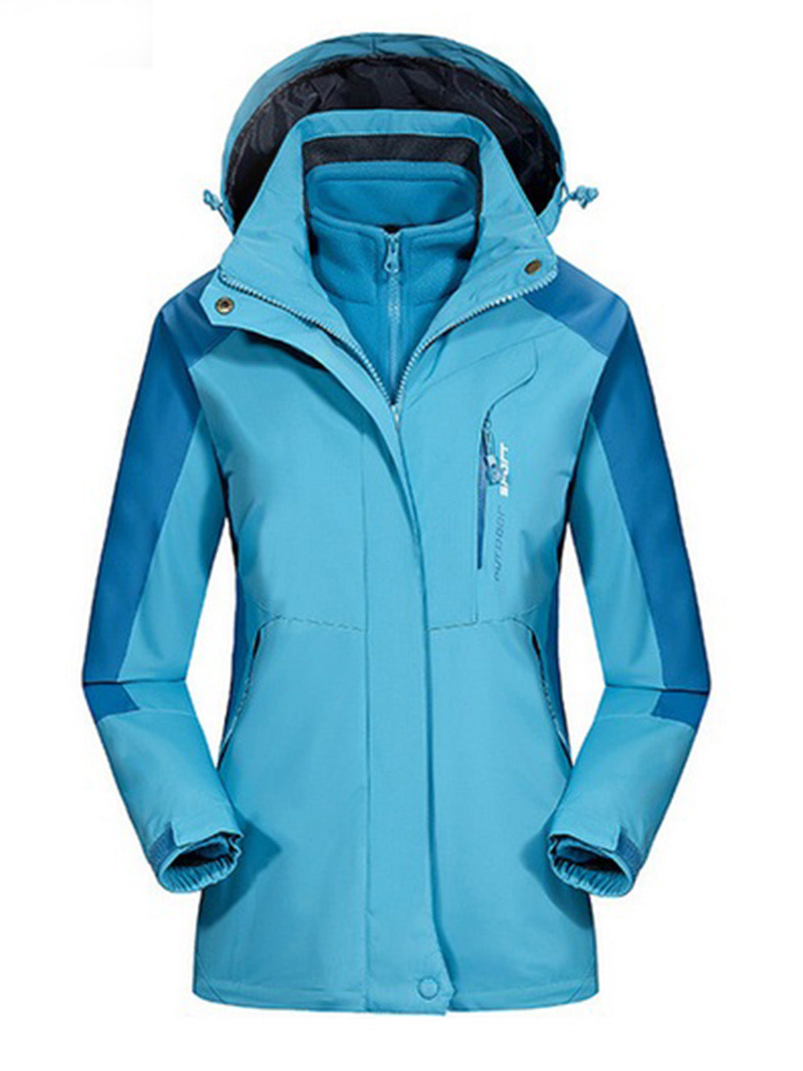 Blue Long Sleeve Women Hooded Ski Jacket