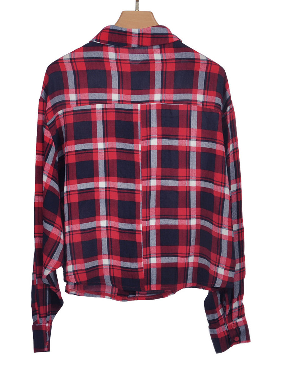 Red Women Crop Shirt Plaid Tie Front Long Sleeve