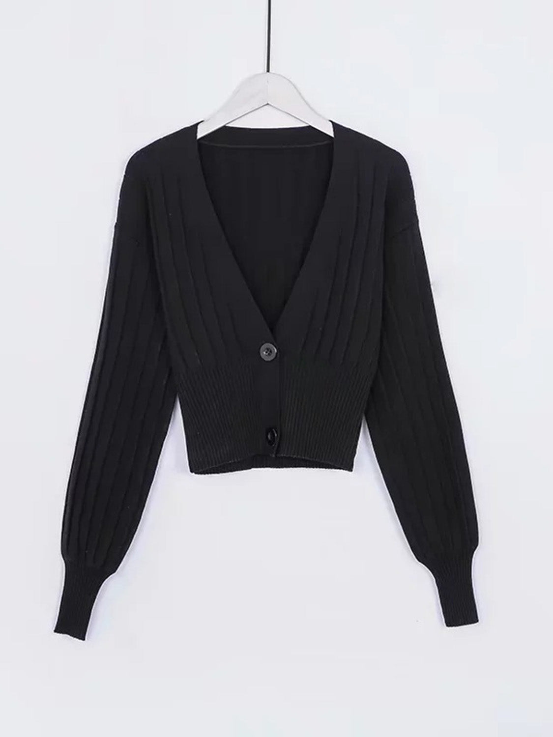 Black Women Sweater V-neck Button Placket Front Long Sleeve