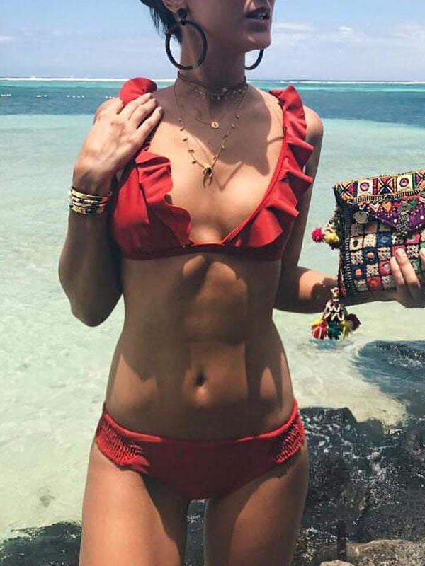 Red Bikini Ruffle Trim